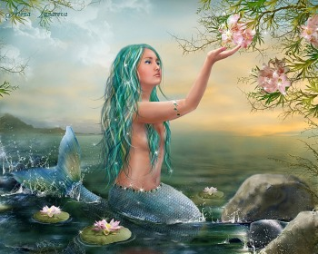 Mermaid Hodling Flower