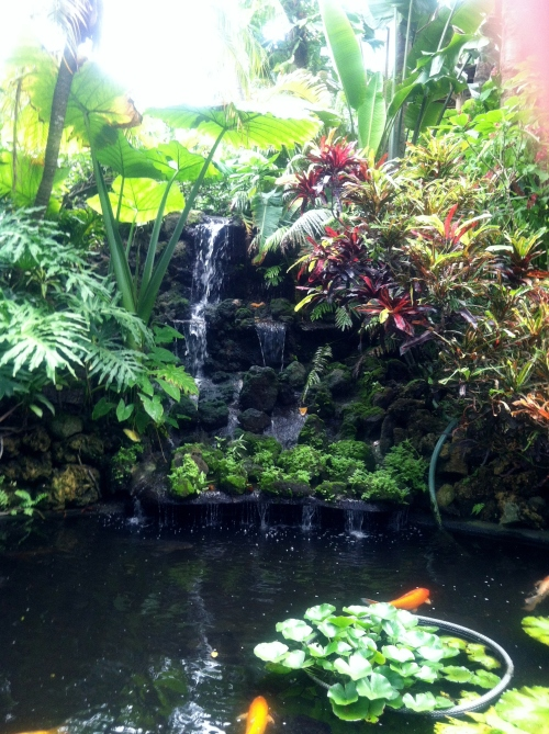 waterfall into koi pond 2
