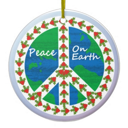peace_on_earth_christmas_tree_ornament from zazzle